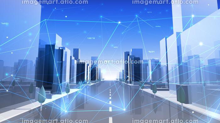 デジタル 都市 街 ネットワーク データ テクノロジー 通信 ビル 建物 ビジネス 3D イラストの販売画像