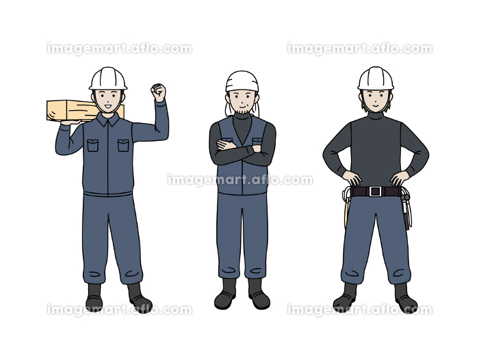 大工 土方 親方 職人 男性 労働者 全身 イラスト素材の販売画像