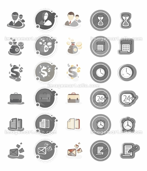 Business and management icons. Business icons on white background. Time and date icons in cartoon design style. Set of watch hourglass alarm calendar notepad. Business and management iconsの販売画像