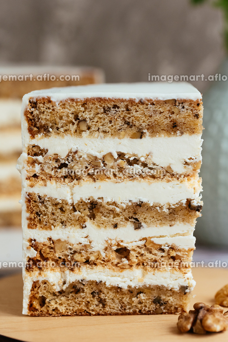 slice of cake with white cream and nuts , Moscow, Moscow, Russiaの販売画像