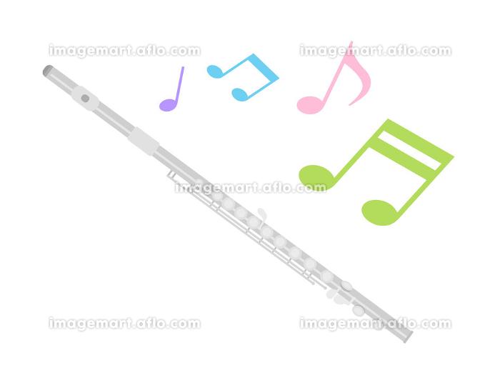 楽器のフルートを演奏するイラストの販売画像