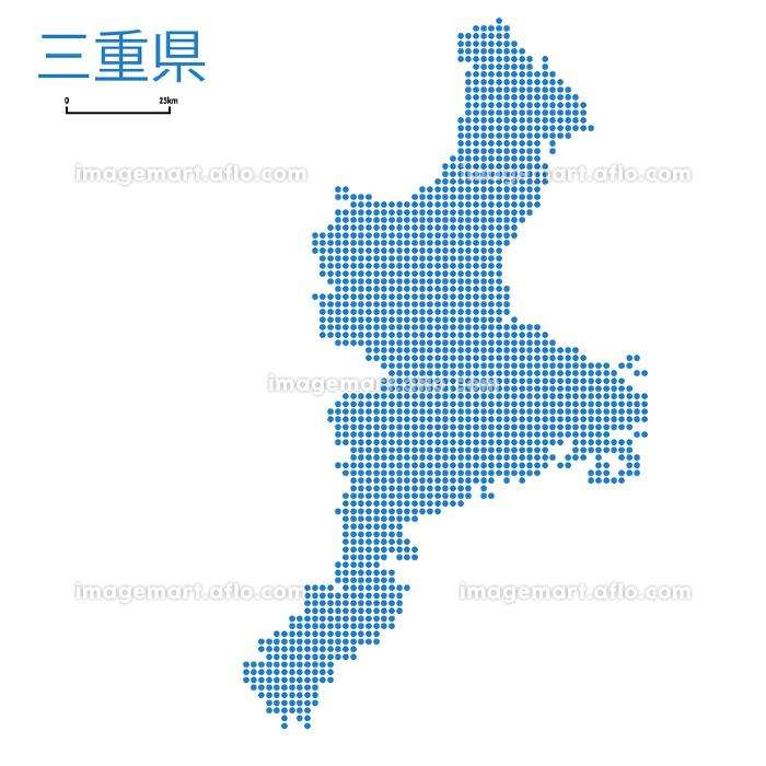 三重県の詳細地図近畿地方|都道府県別ドット表現の地図のイラスト ベクターデータの販売画像