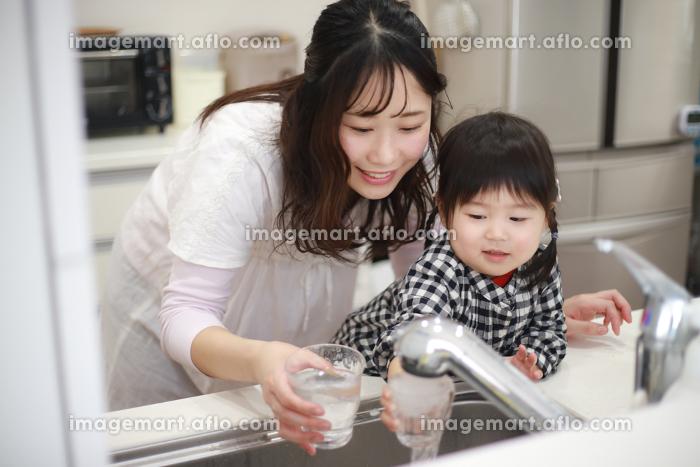 水道水を飲む親子の販売画像
