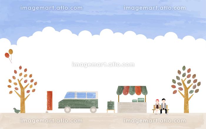 秋の青空市場のイラスト、透明水彩風の販売画像