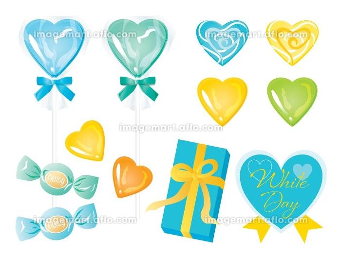 青や黄色のホワイトデーのキャンディーとリボンつきの箱のセットの販売画像