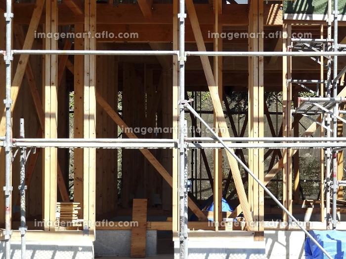 木造住宅の新築工事現場の販売画像