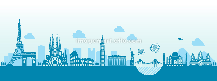 世界の有名な建築物・世界遺産・ランドマーク 横並び風景イラストの販売画像