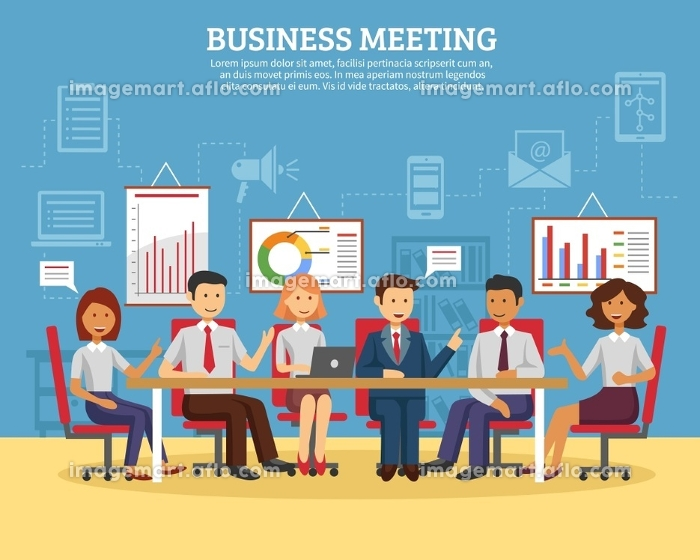 Business meeting flat. Business meeting concept with people chatting in conference room flat vector illustration