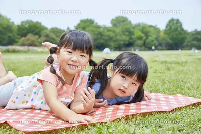 春の公園でピクニックをする日本人の女の子
