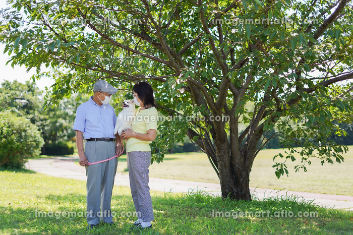 感染症に気を使いながら散歩をする高齢の夫婦の販売画像