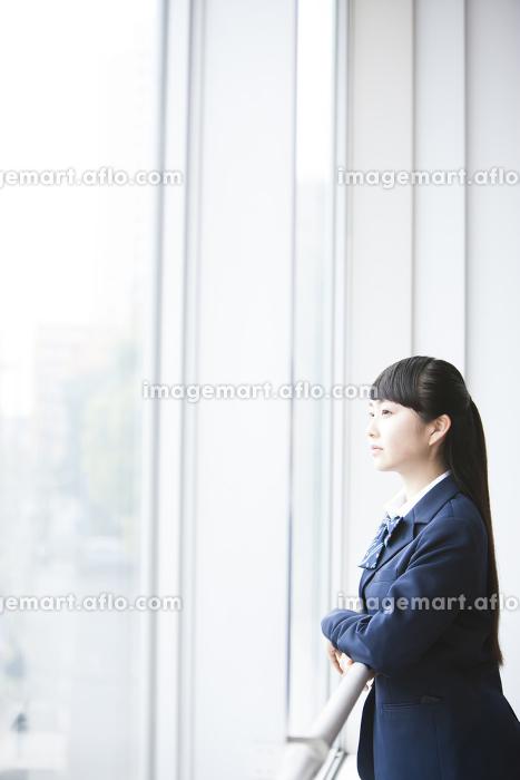 窓から外を眺める女子高生の販売画像