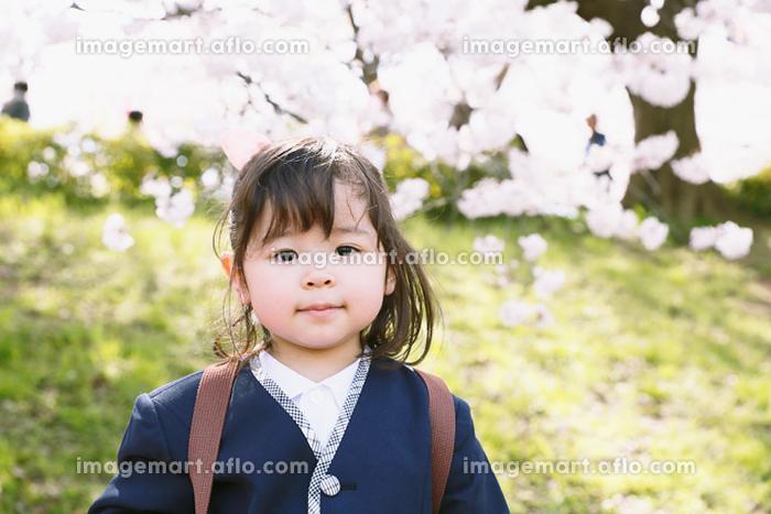桜と幼稚園児