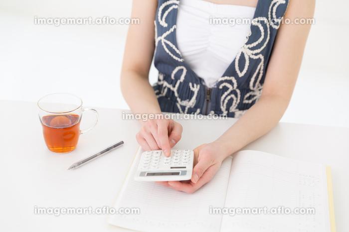 家計簿をつける女性 手元の販売画像