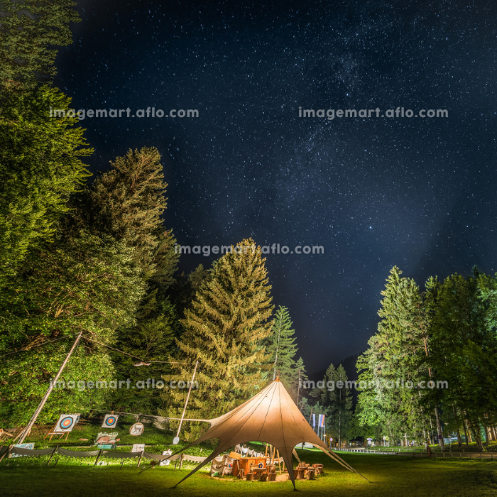 Camping Shelter at Starry Night Surrounded by Treesの販売画像
