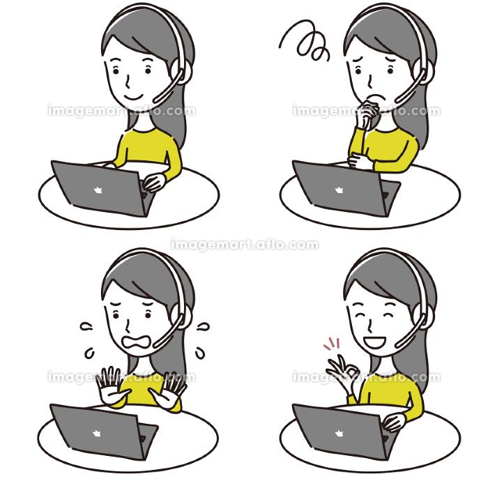 オンライン学習する大人の女性イラスト素材セットの販売画像