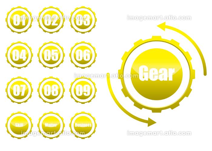 歯車ギアのインフォグラフィックスイラスト アイコン コンセプト工業産業ビジネスの販売画像