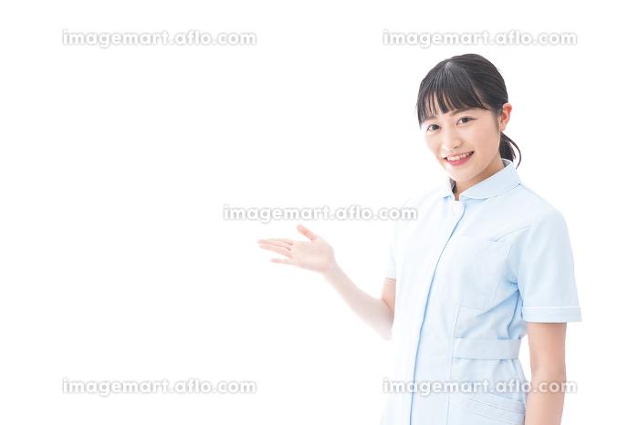 指をさす若い看護師の販売画像