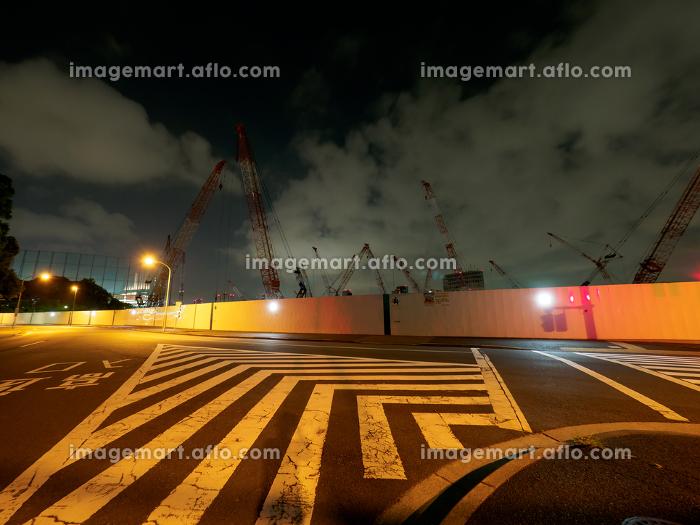 新国立競技場 建設中 夜景 2017年6月撮影の販売画像