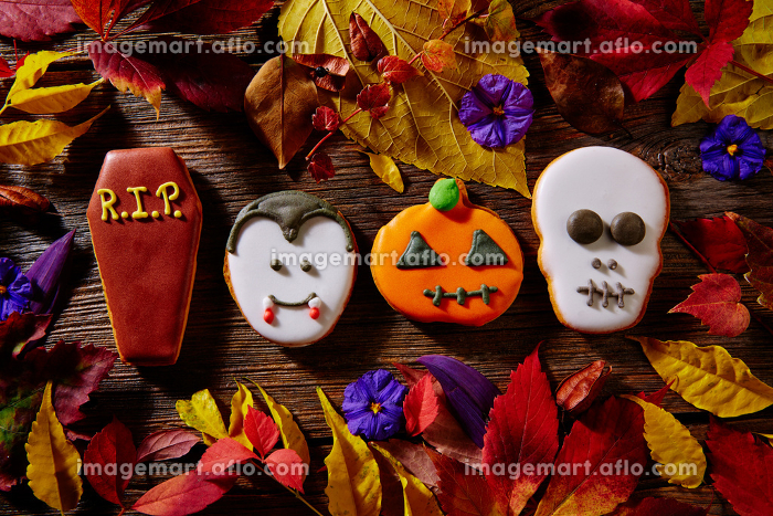 Halloween sweets biscuits pumpkin skull vampire and tomb shapes
