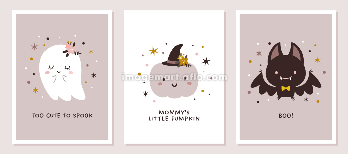 かわいいハロウィンキャラクター、子供部屋などのポスターセットの販売画像