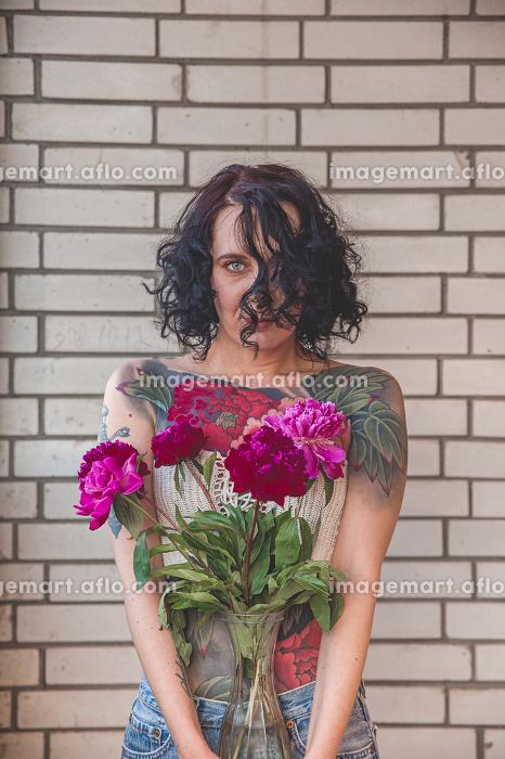 Beauty model woman with tatoo face. Perfect Skin. , Berlin, Berlin, Germany