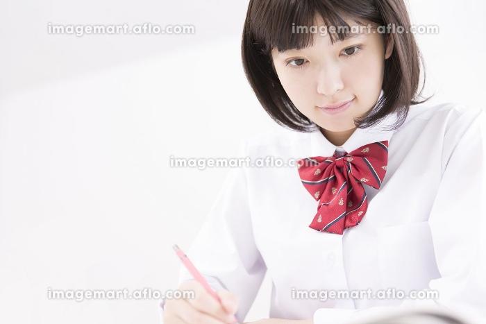 勉強する女子高校生の販売画像