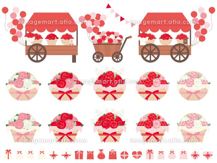 カーネーションとバラをフラワーアレンジメントした編みカゴのイラストセット 母の日に贈る花の販売画像