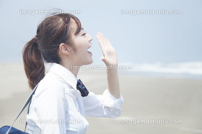 海に向かって叫ぶ女子高校生の販売画像