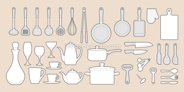 キッチン用品アイコンセットの販売画像
