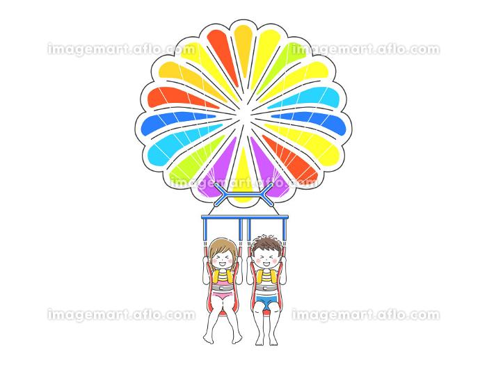 パラセーリングをするカップルのイラストの販売画像