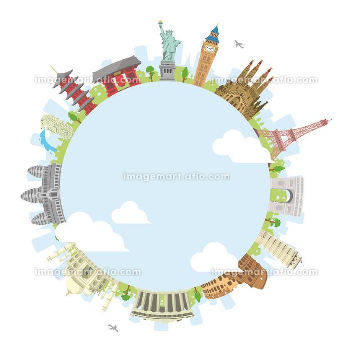 世界の有名な建築物(遺跡・建物・世界遺産)カラー円形バナー / 海外旅行 (中心部・水と雲)の販売画像
