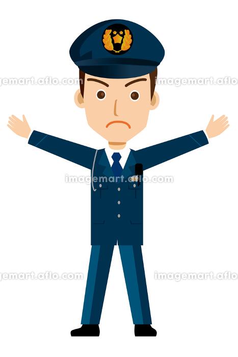 働く人制止のポーズをする警官・警察官・お巡りさんのイラスト若者青年の販売画像