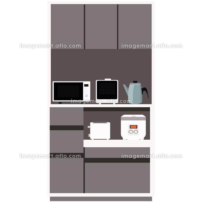 食器棚のイラストと家電 インテリア キッチン 食卓 棚 ベクターの販売画像