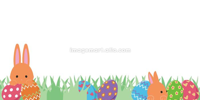 エッグハント 草原 茶色のうさぎの販売画像