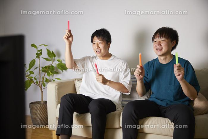 オンラインライブを楽しむ日本人男性の販売画像
