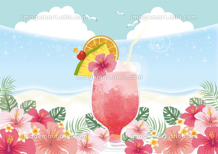 トロピカル:ジュース 南国 ハイビスカス バカンス 夏休み カクテル 果物 きらきら 海 波の販売画像