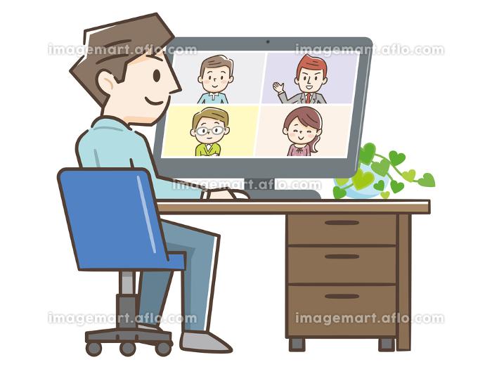 リモートワーク オンライン ビデオ会議の販売画像