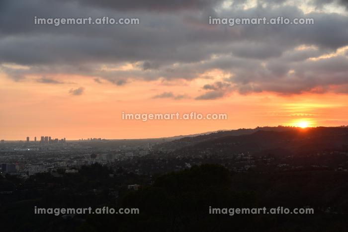 ロサンゼルス夕景、グリフィス天文台からの販売画像