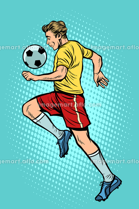Retro football player with a soccer ballの販売画像