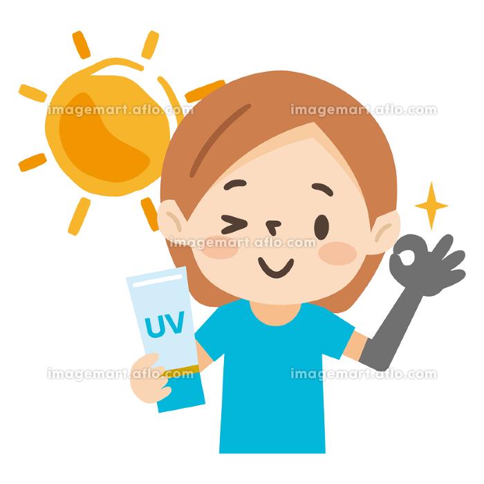 日焼け対策をした若い女性のイラストレーションの販売画像