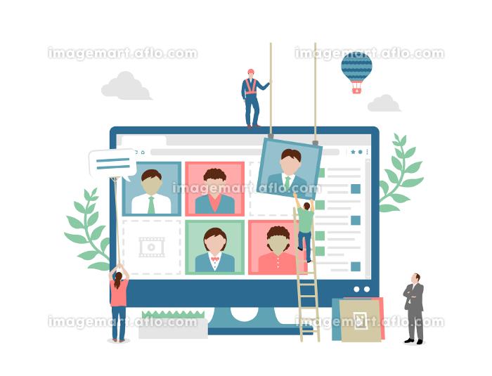 ビデオ会議・オンラインミーティングのコンセプトバナーイラストの販売画像