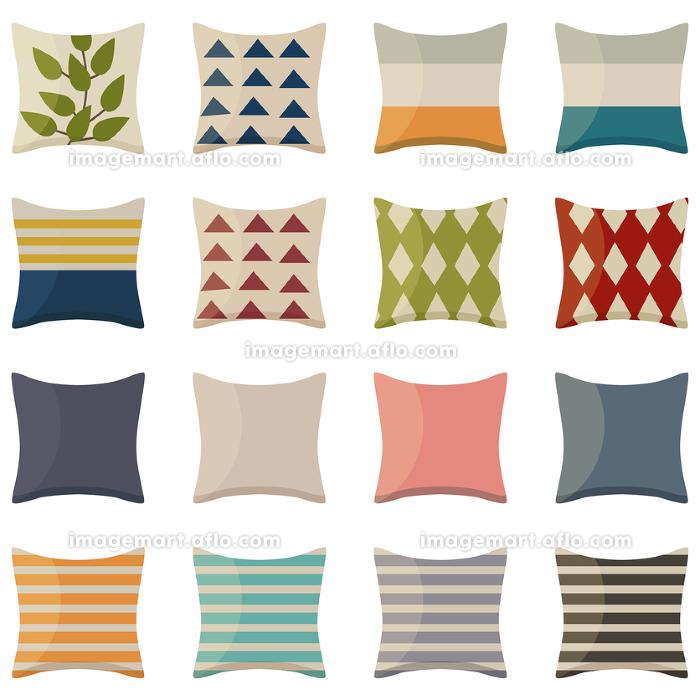 イラスト素材 いろいろなデザインのクッション 枕 寝具 ベクターの販売画像