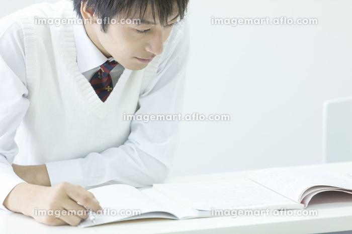 勉強する男子高校生