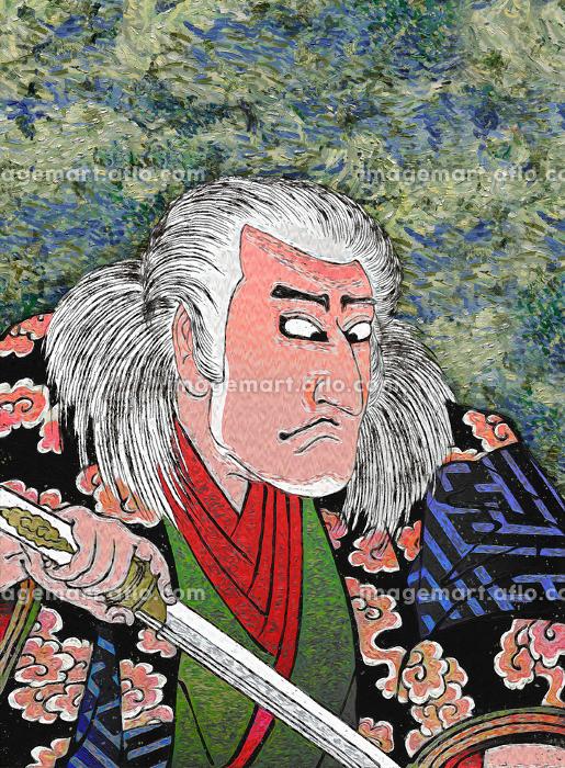 浮世絵 歌舞伎役者 その14 油絵バージョンの販売画像