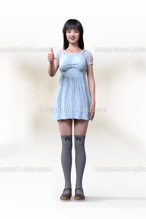 フェミニンなワンピースを着てニーハイを履いた若い女の子がグッドサインをして正面を向いているの販売画像