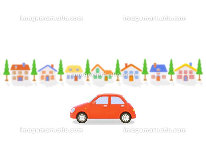 赤い車と家並みの販売画像