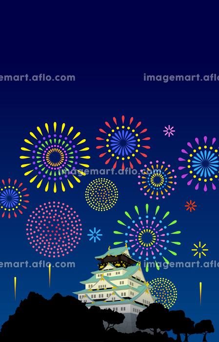 大阪城と夜空の花火の販売画像