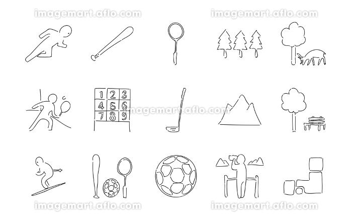 ラフな手書き風アイコンセット スポーツと自然のベクターイラスト イメージマート