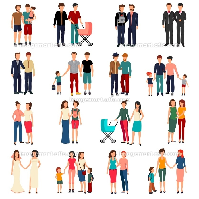Homosexual Couples Set. Flat set of male and female homosexual couples and families with children isolated on white background vector illustrationの販売画像