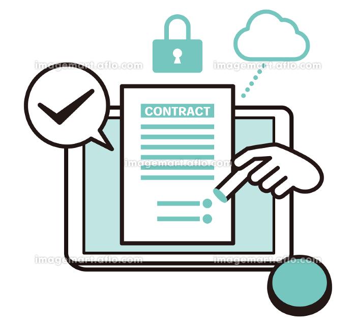 安全性の高いクラウドに繋げたタブレット端末で書類に電子印鑑を押印するイラストの販売画像